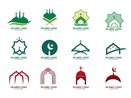 Set of Islamic Logo Design Template. Mosque Icon Design Template