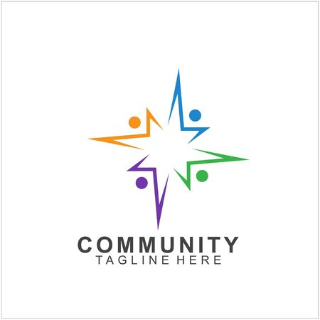 Team Work Logo Design. Social Network Family Friends icon. Vector illustration Illustration