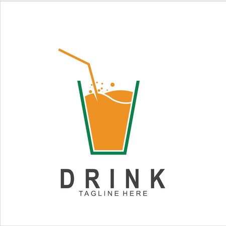 Modern Juice logo design. Glass icon vector illustration