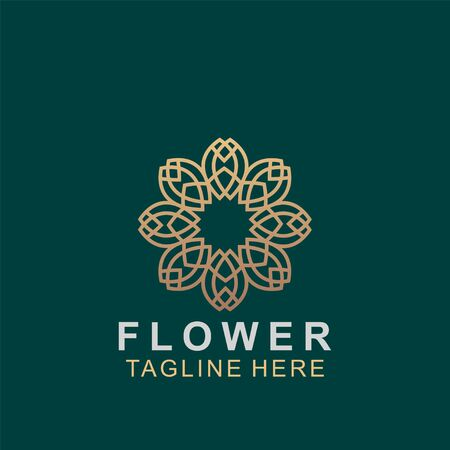 Luxury floral logo design. Ornament flower abstract vector. jewel boutique vector sign.