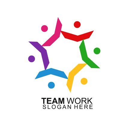 Team Work Logo Design. Modern Social Network Team Logo Design Logo