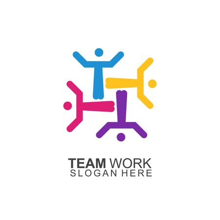 Team Work Logo Design. Modern Social Network Team Logo Design