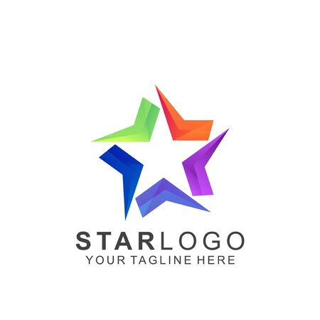 Colorful Star Logo Design. Abstract Icon Star Vector Template Ilustracja