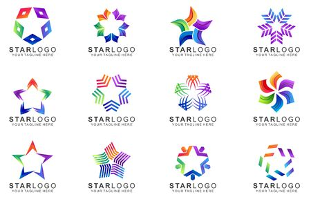 Set Of Colorful Star Logo Design. Abstract Icon Star Vector Template Ilustracja