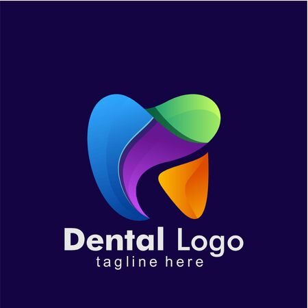 Dental Logo colorful Design template. Icon tooth abstract modern Ilustracja