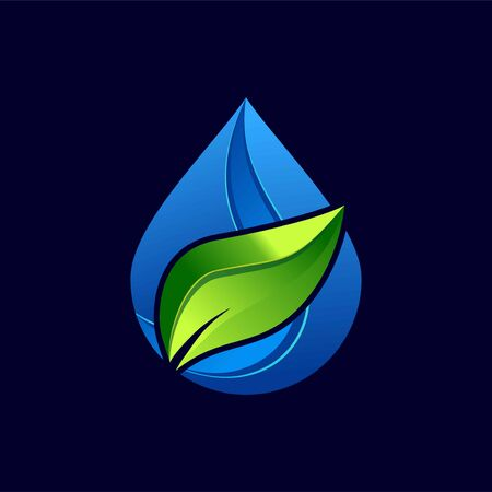 Leaf and water design logo Template. Green and water Nature Icon Design Ilustracja