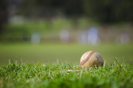 spring training: Used baseball laying on fresh green grass with baseball players in the background Stock Photo