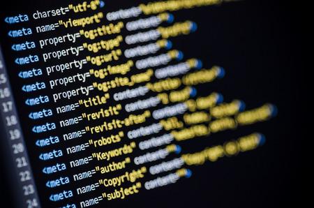 meta: Closeup of a meta tag code displayed on a computer monitor