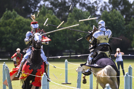 Two knights compete during re-enactment of medieval jousting tournament
