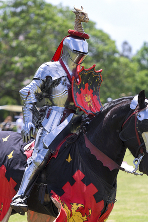 A knights during re-enactment of medieval jousting tournament