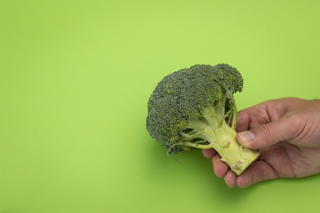 Men's hand holding piece of broccoli on green background