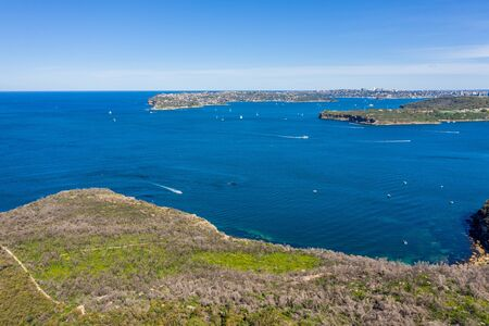 Aerial view on famous South Head, Sydney, Australia. View on Sydney harbourside suburb from above. Aerial view on Sydney North Harbour ,and South Head.