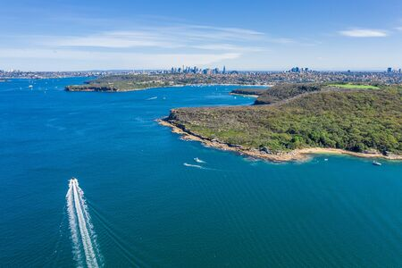 Aerial view on Dobroyd Head, Sydney, Australia. View on Sydney harbourside suburb from above. Aerial view on Sydney North Harbour, Dobroyd Head and CBD in the background.