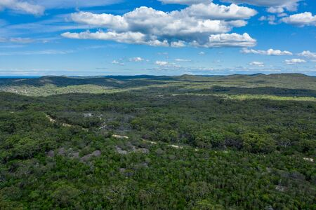 Aerial view of hills and forest at Ku-ring-gai Chase National Park, New South Wales, Australia 스톡 콘텐츠 - 144150950