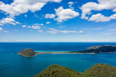 Aerial view of Barrenjoey Lighthouse, Barrenjoey Head, Palm Beach and Pittwater, from West Head, Sydney, Australia