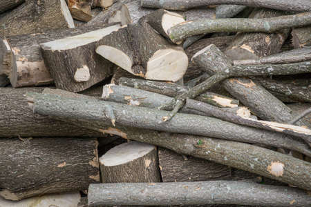 Close up of a pile of wood logs, chopped into smaller pieces, timber logs.