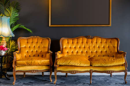 Image of old style, gold yellow chair and sofa in dark grey room