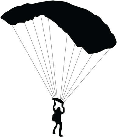 Vector illustration of silhouettes skydiver, parachute jumper. Skydiver, silhouettes parachuting vector illustration