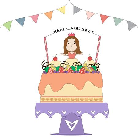 torta compleanno: Torta di compleanno  Vettoriali