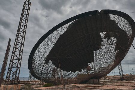 abandoned giant industrial satellite dish