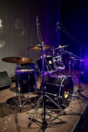 closeup of drums in a concert theater