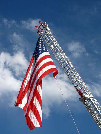 Flag on a fire truck ladder