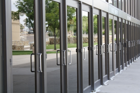glass door: row of business doors