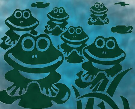 Happy green frogs