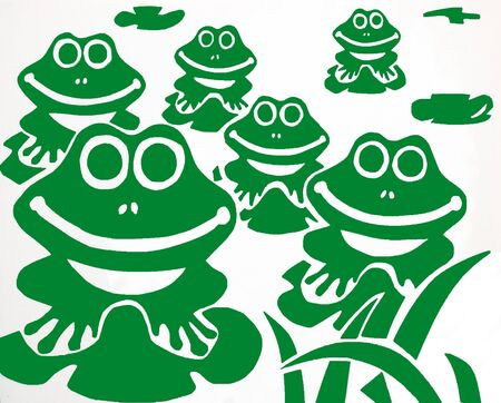 Happy frogs with white background photo