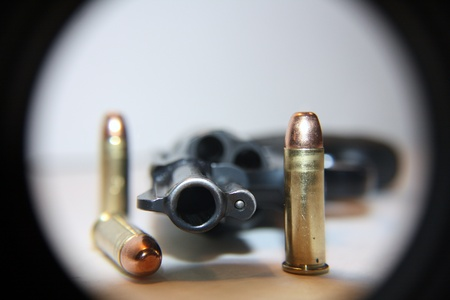 38: .38 special handgun with bullets Stock Photo