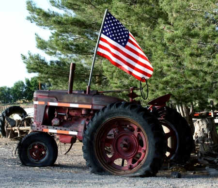 tractor with the American flag