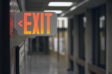 Exit Sign in Hallway