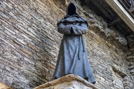 Monk statue in old town tallinn