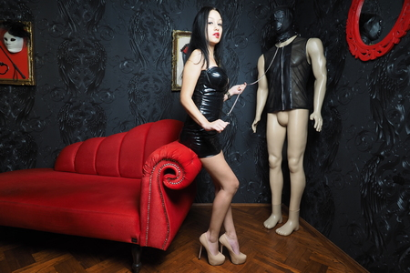 domina: Mistress Whip Domination Stock Photo