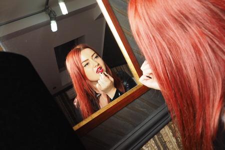 herrin: Herrin roten Lippenstift Lizenzfreie Bilder