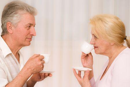 portrait of happy smiling elderly couple  photo