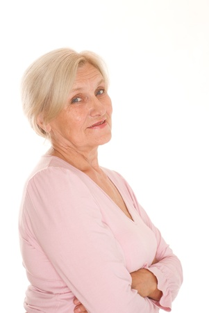 beautiful older woman on a white background photo