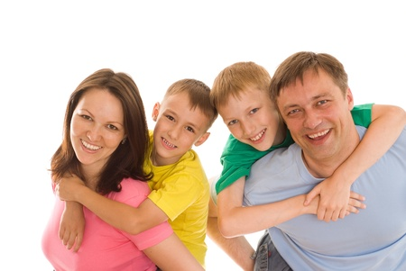 four person: happy family of four on a white