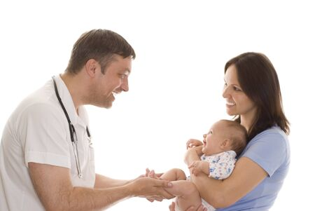 doctor and a woman with a newborn on a white background photo