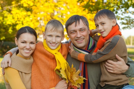 happy family of four on the nature Standard-Bild