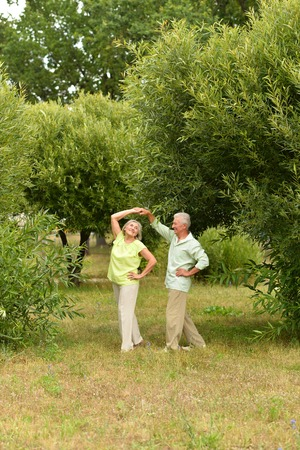 beautiful old people are dancing in the summer park