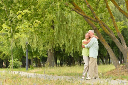 Beautiful caucasian elderly couple in the park