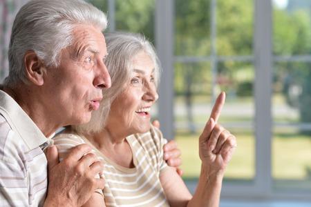 happy nice elderly couple looking  in delight