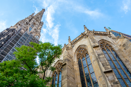 Beautiful view of famous St. Stephen`s Cathedral in Vienna
