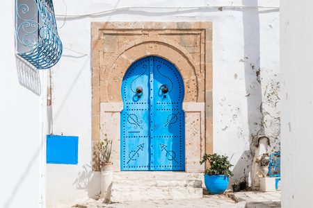 Traditional door with pattern and tiles, Sidi Bou Side, Africa