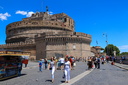 Rome, Italy - July 1, 2017: People in front of Castel Sant'Angelo, Rome, Italy