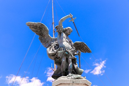 The Saint Michael statue on the top of Castel Sant`Angelo in Rome, Italy