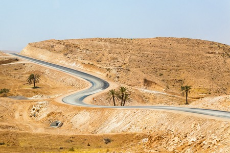 The desert road in the south of Tunisia, Africa