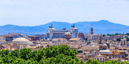 Aerial scenic view of Rome in summer, Italy
