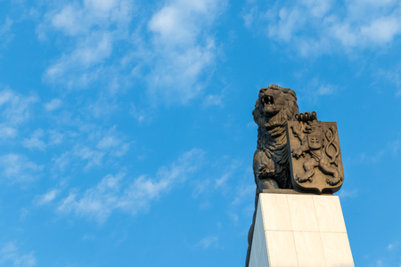 The column with a bronze lion placed on its top, Bratislava, Slovakia